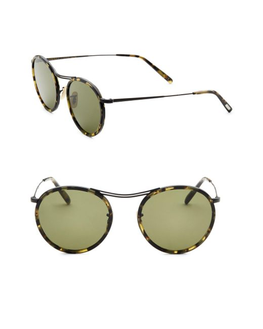 Oliver Peoples - Black 47mm Round Sunglasses for Men - Lyst