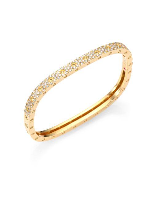 Roberto Coin - Metallic Pois Moi Pave Diamond & 18k Yellow Gold Single-row Bangle Bracelet - Lyst
