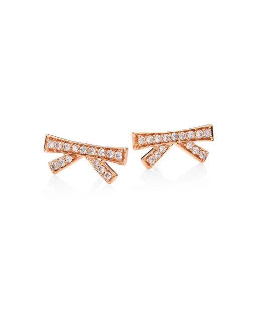 Hueb - Metallic Origami Diamond & 18k Rose Gold Stud Earrings - Lyst