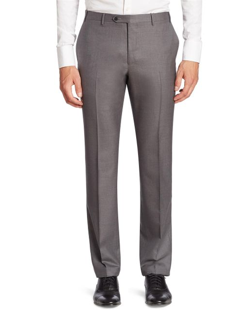 Corneliani | Gray Solid Slim-fit Wool Pants for Men | Lyst