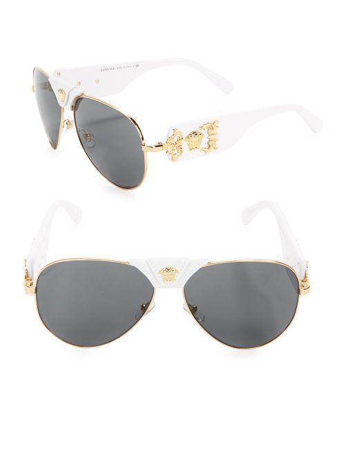 Versace - Metallic Men's 62mm Aviator Sunglasses - Gold White for Men - Lyst