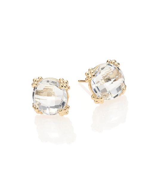 Anzie - Metallic Dew Drop White Topaz & 14k Yellow Gold Stud Earrings - Lyst