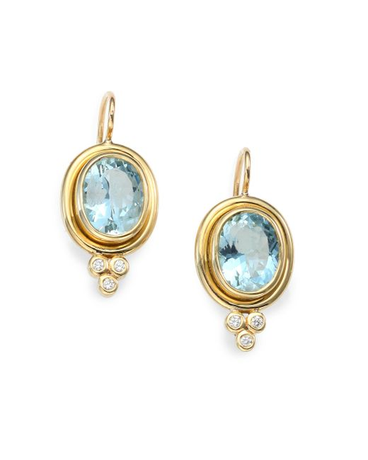 Temple St. Clair - Metallic Classic Color Aquamarine, Diamond & 18k Yellow Gold Oval Drop Earrings - Lyst