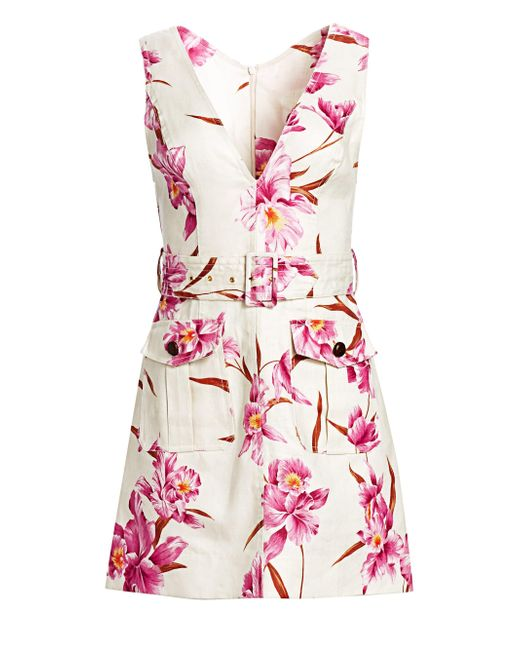 b714a605ee Zimmermann - Multicolor Women s Corsage Orchid-print Linen Safari Dress -  Sage Fuschia - Size ...