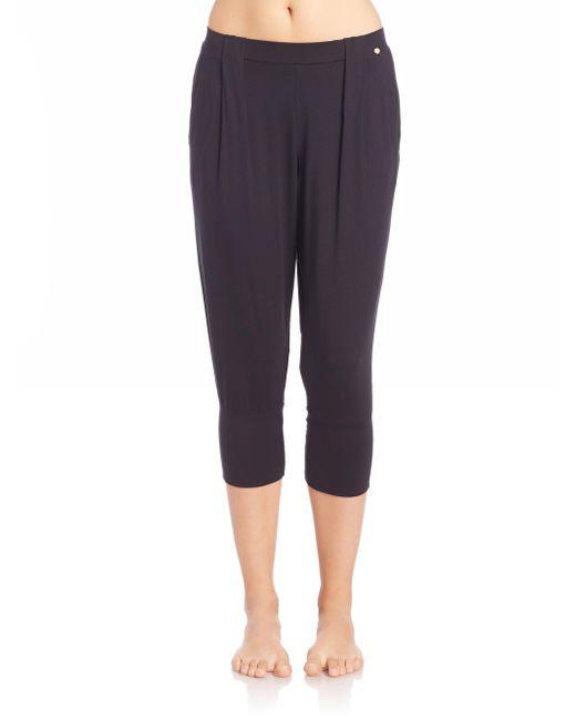 Hanro Black Yoga Fashion Cropped Lounge Pants