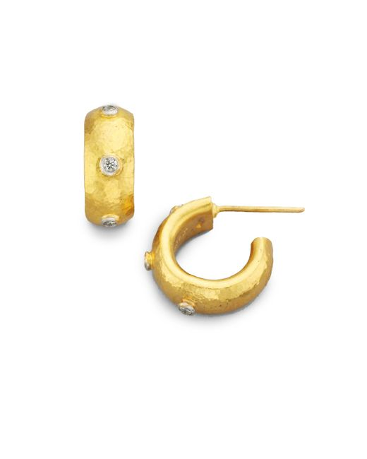 Gurhan - Metallic Celestial Diamond & 24k Yellow Gold Constellation Huggie Hoop Earrings/0.5 - Lyst
