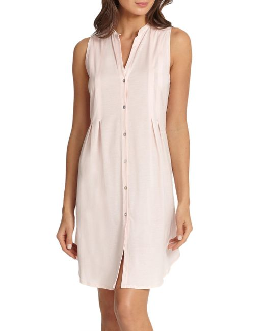 Hanro - Gray Cotton Deluxe Button-front Tank Gown - Lyst