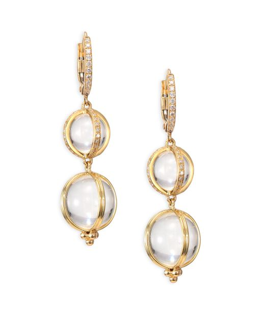 Temple St. Clair - Metallic Double Amulet, Rock Crystal, Diamond & 18k Yellow Gold Drop Earrings - Lyst
