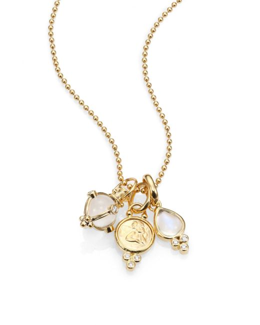 Temple St. Clair - Metallic Rock Crystal, Moonstone, Diamond & 18k Yellow Gold Charm Necklace - Lyst