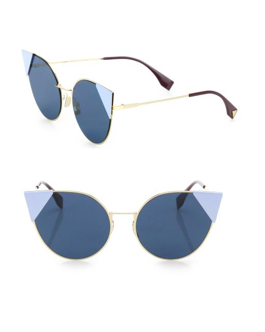Fendi - Blue 55mm Round Cat's-eye Sunglasses - Lyst