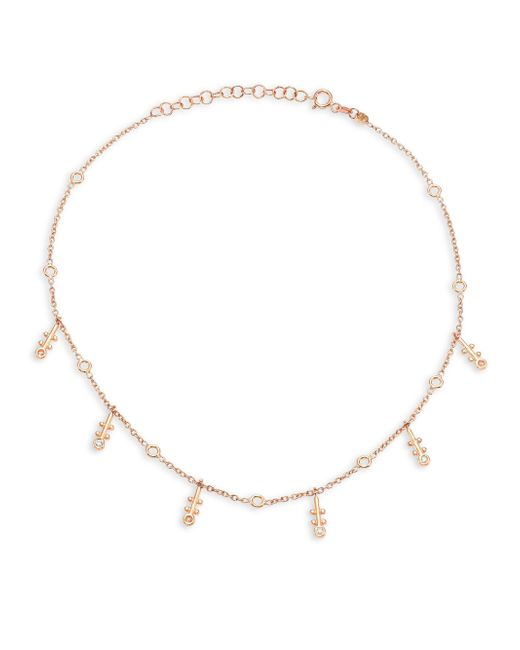 Kismet by Milka | Metallic Bezel Diamond & 14k Rose Gold Choker | Lyst