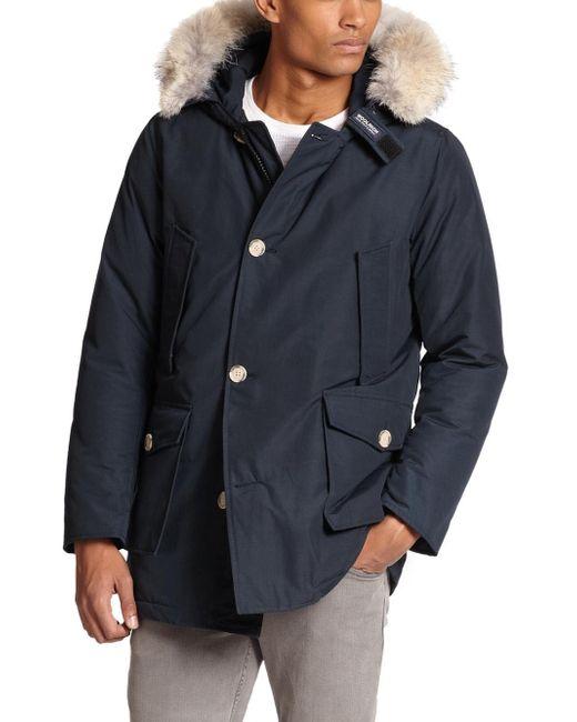 Woolrich - Blue Fur-trimmed Arctic Parka for Men - Lyst