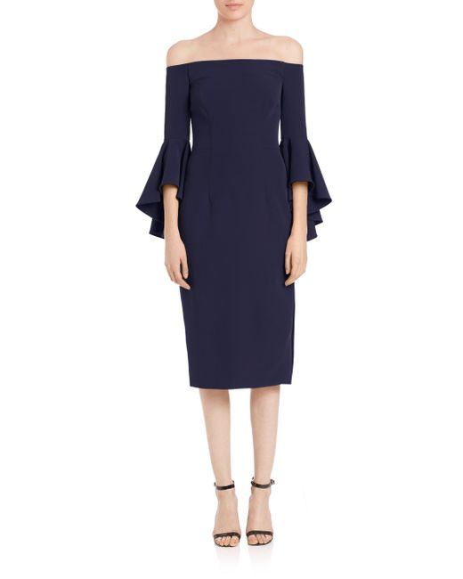 MILLY - Blue Selena Italian Cady Bell Sleeve Off-the-shoulder Dress - Lyst