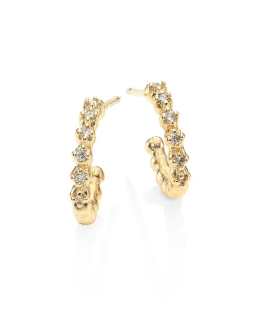Mizuki - Metallic Small Diamond & 14k Yellow Gold Hoop Earrings/0.5 - Lyst