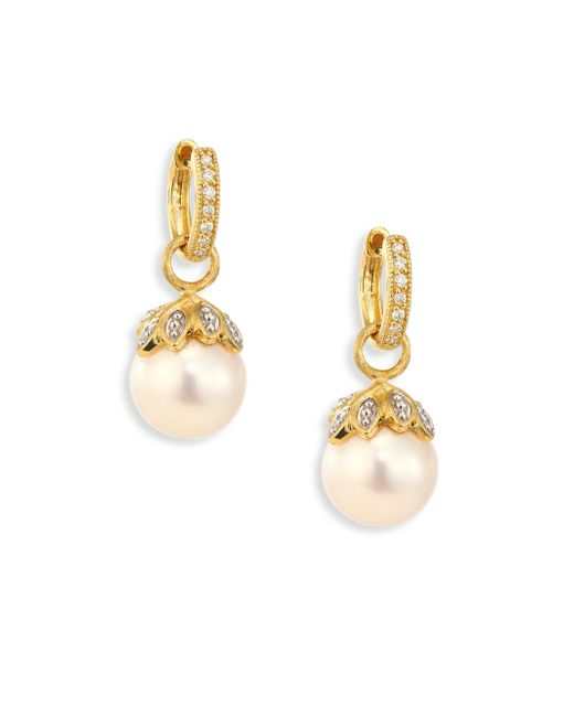 Jude Frances | Metallic Sonoma Leaf Cap 10mm White Pearl, Diamond & 18k Yellow Gold Earring Charms | Lyst