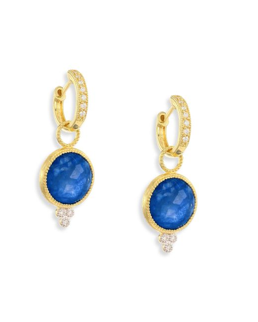 Jude Frances | Multicolor Provence Diamond & Sapphire Rainbow Moonstone Doublet Round Earring Charms | Lyst