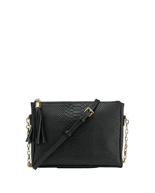 Gigi New York | Black Hailey Embossed Python Leather Crossbody Bag | Lyst