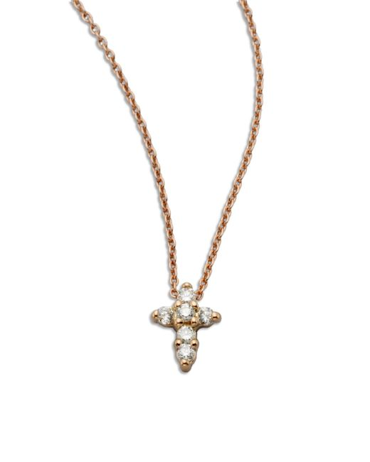 Roberto Coin - Metallic Tiny Treasures Diamond & 18k Rose Gold Mini Cross Pendant Necklace - Lyst