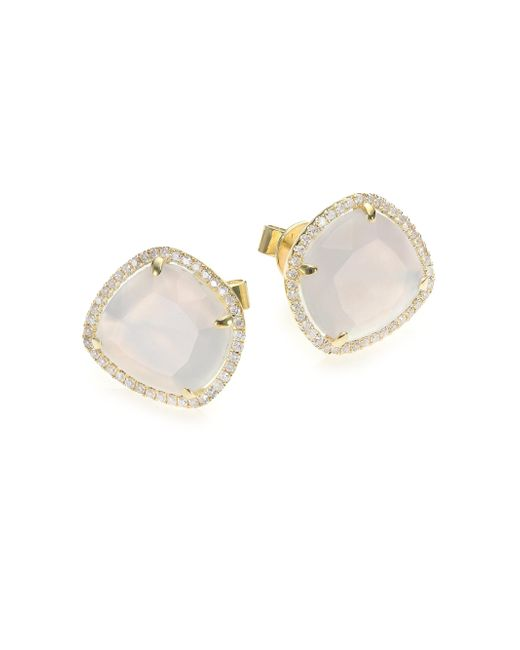 Meira T - Metallic Chalcedony, Mother-of-pearl, Diamond & 14k Yellow Gold Doublet Stud Earrings - Lyst