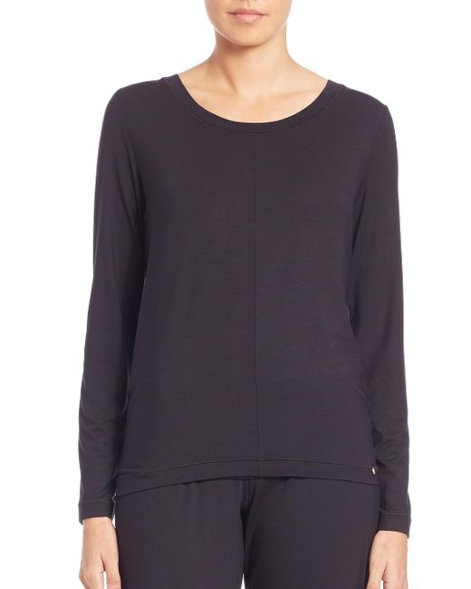 Hanro Black Yoga Long-sleeve Top