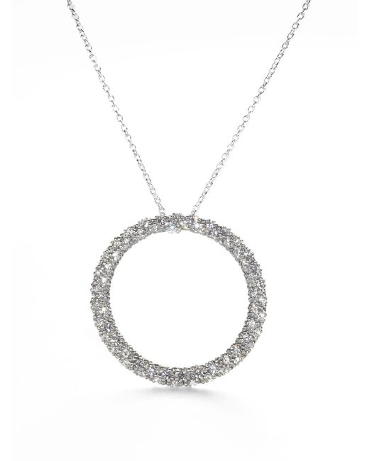 Adriana Orsini - Metallic Pavé Circle Necklace - Lyst