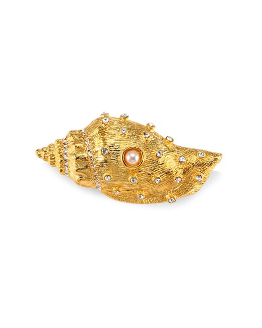 Kenneth Jay Lane | Metallic Crystal & Simulated Faux Pearl Shell Pin | Lyst