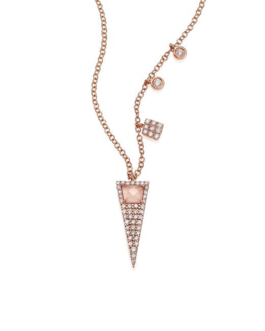 Meira T - Pink Rose Quartz, Mother-of-pearl, Diamond & 14k Rose Gold Triangle Pendant Necklace - Lyst