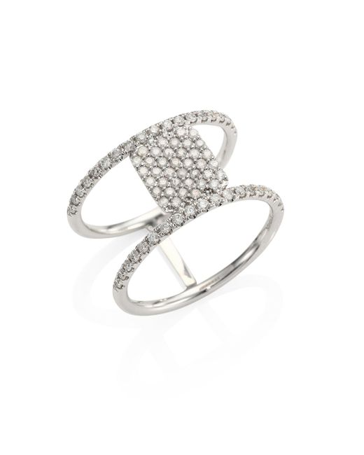 Meira T | Metallic Pave Diamond & 14k White Gold Double-band Ring | Lyst
