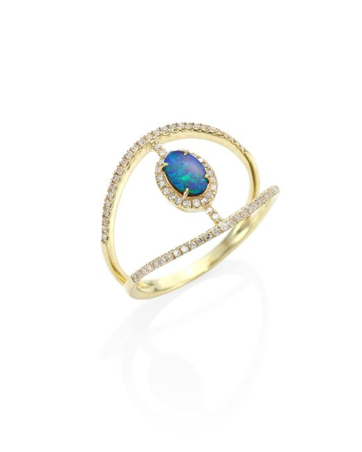 Meira T | Metallic Diamond, Opal & 14k Yellow Gold Ring | Lyst