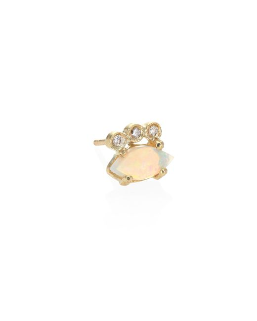Jacquie Aiche - Metallic Diamond, White Opal & 14k Yellow Gold Single Stud Earring - Lyst