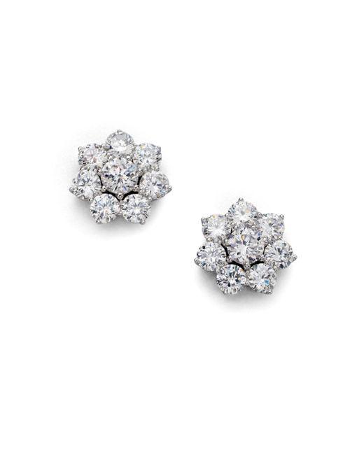 Adriana Orsini - Metallic Sterling Silver Flower Stud Earrings - Lyst