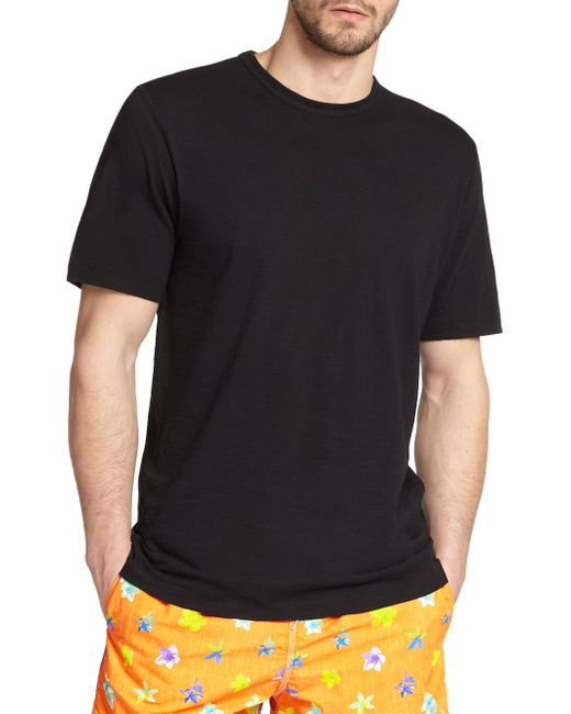 Saks Fifth Avenue - Black Pima Cotton Crewneck Tee for Men - Lyst