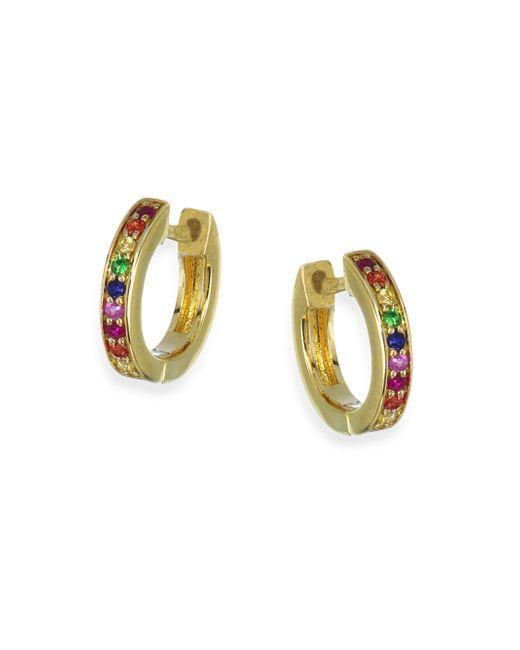 Sydney Evan - Metallic Rainbow Sapphire Huggie Hoop Earrings - Lyst