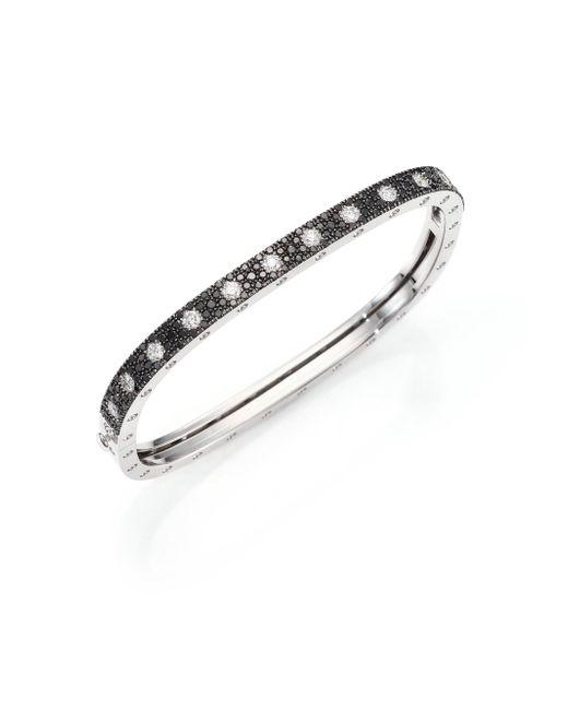 Roberto Coin - Metallic Pois Moi Diamond, Black Sapphire & 18k White Gold Single-row Bangle Bracelet - Lyst