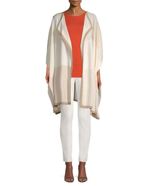 St. John - Natural Texture Colorblock Wool Knit Cardigan - Lyst
