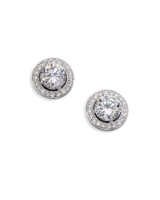 Adriana Orsini - Metallic Sterling Silver Round Framed Stud Earrings - Lyst