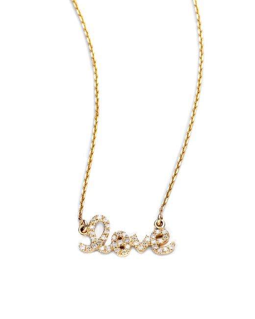 Sydney Evan | Metallic Diamond & 14k Yellow Gold Small Love Necklace | Lyst