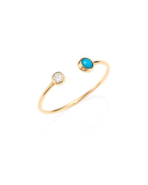 Zoe Chicco - Metallic Diamond, Turquoise & 14k Yellow Gold Open Ring - Lyst