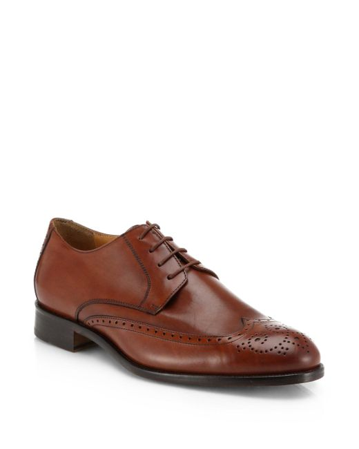 Saks Fifth Avenue | Brown Collection Leather Lace-up Wing-tips for Men | Lyst