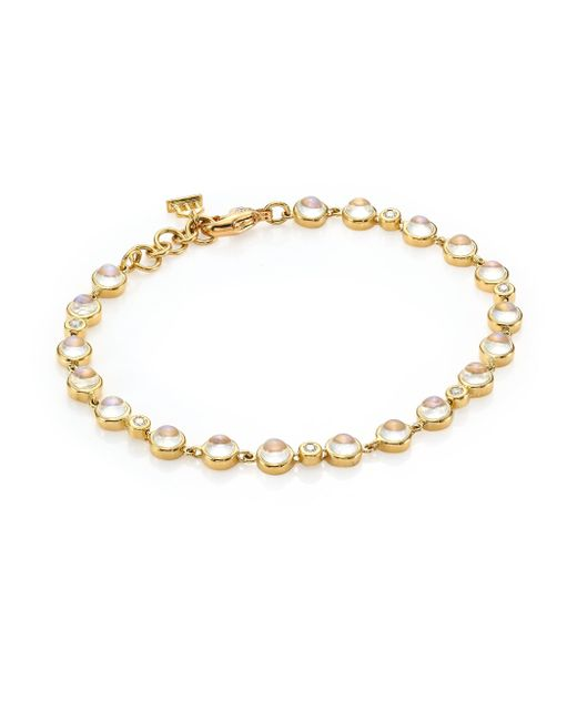 Temple St. Clair | Metallic Single Round Diamond, Moonstone & 18k Yellow Gold Bracelet | Lyst