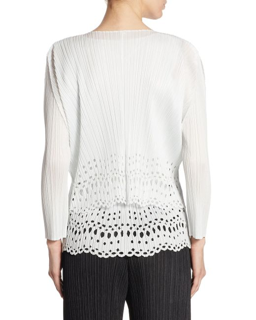 Pleats please issey miyake Lace Hem Cardigan in White | Lyst
