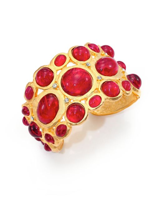 Kenneth Jay Lane - Multicolor Sculpted Red Cabochon Bracelet - Lyst