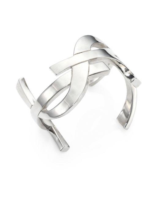 Saint Laurent   Metallic Monogram Manchette Signature Cuff Bracelet/silvertone   Lyst