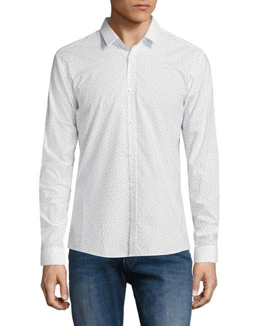 HUGO   White Ero3 Arrow Print Shirt for Men   Lyst