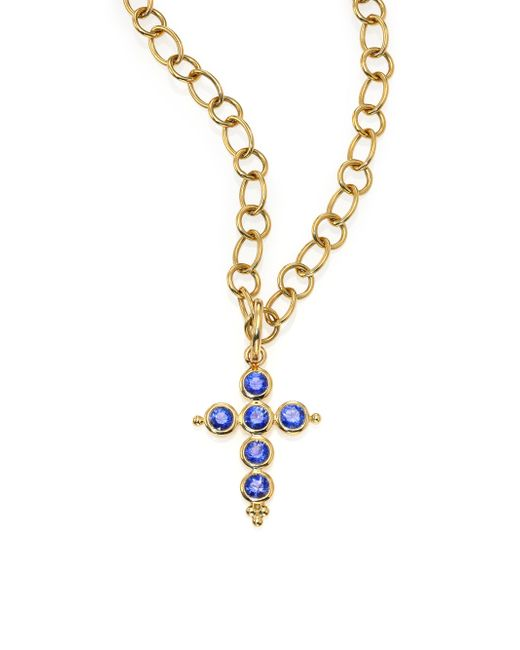 Temple St. Clair - Metallic Classic Color Sapphire & 18k Yellow Gold Cross Pendant - Lyst