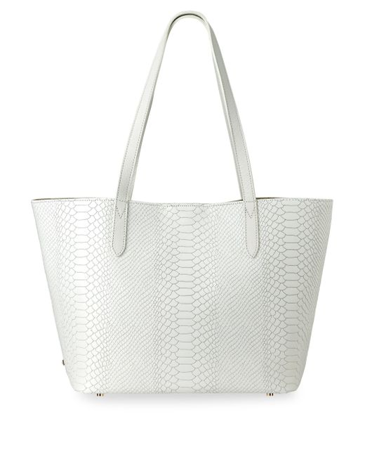 Gigi New York - White Teddie Snake-embossed Leather Tote Bag - Lyst