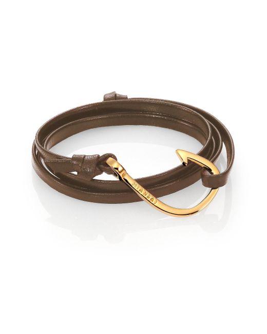 Miansai - Brown Hook Leather & 18k Goldplated Bracelet - Lyst
