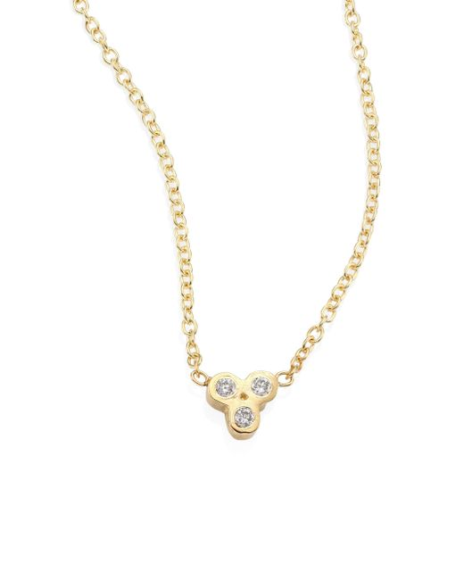 Zoe Chicco - Metallic Tiny Trio Diamond & 14k Yellow Gold Pendant Necklace - Lyst