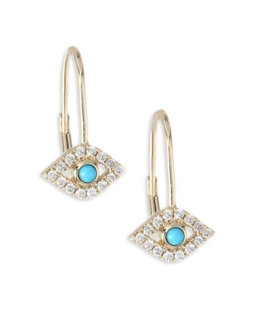 Sydney Evan | Metallic Evil Eye Diamond & Turquoise Earrings | Lyst