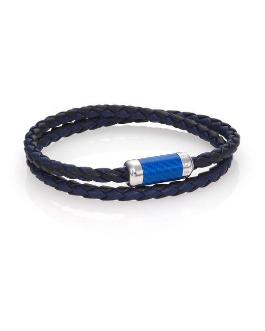 Tateossian | Blue Leather, Carbon Fiber & Sterling Silver Bicolor Braided Bracelet for Men | Lyst